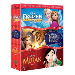 PRINCESS  3 Movie Collection BOX SET 2 - Frozen : Sing Along + Beauty Beast + Mulan