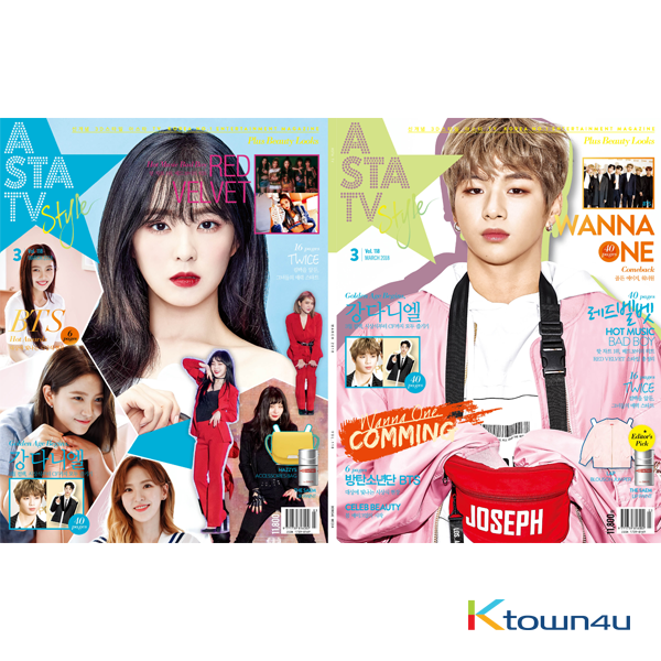 ASTA TV + Style 2018.03 VOL.118 3D Style Magazine (Double Cover : Wanna One (Kang Daniel) 40p, Red Velvet 40p Contents : TWICE 16p, BTS 6p)