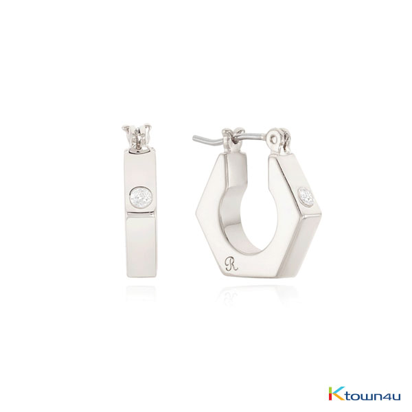 NUT HOOP EARRINGS (WHITE GOLD)