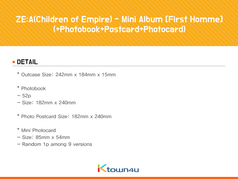 ZE:A(Children of Empire) - Mini Album [First Homme] (+Photobook+Postcard+Photocard)