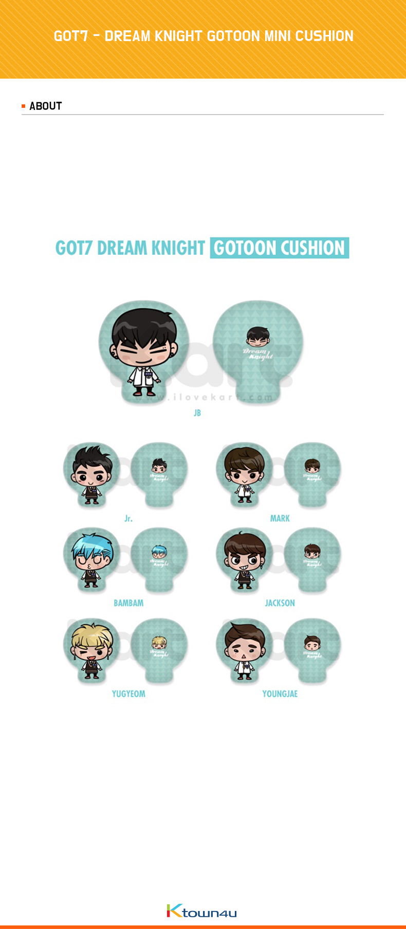 GOT7 (ガットセブン) - DREAM KNIGHT GOTOON MINI CUSHION