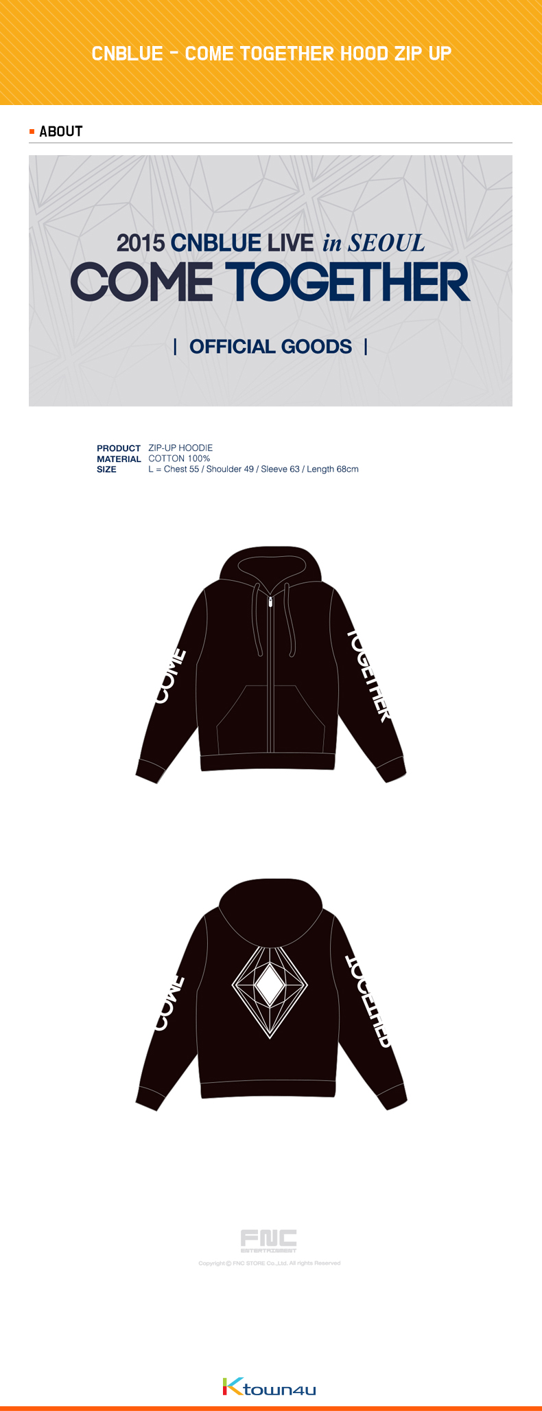 【FNC公式グッズ】CNBLUE (シエンブルー) : COME TOGETHER HOOD ZIP UP : フードジップアップ
