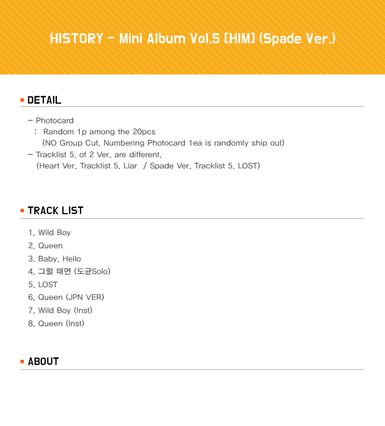 HISTORY - Mini Album Vol.5 [HIM] (Spade Ver.)