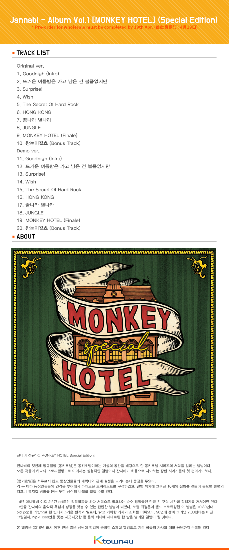 Jannabi - Album Vol.1 [MONKEY HOTEL] (Special Edition)